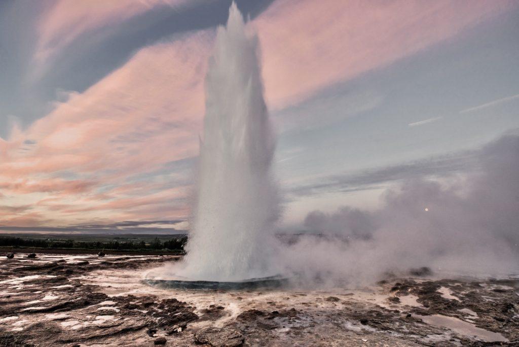 Strokkur geysir eruption in Iceland - Golden Circle tour