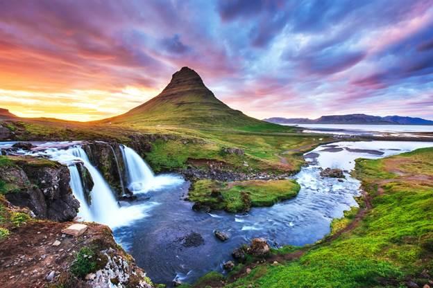 Waterfalls in Iceland - Kirkjufell Waterfalls