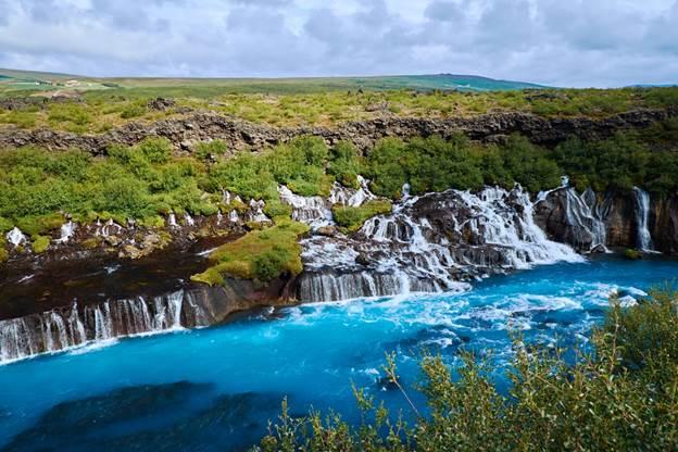 Waterfalls in Iceland: Hraunfossar Waterfall Iceland