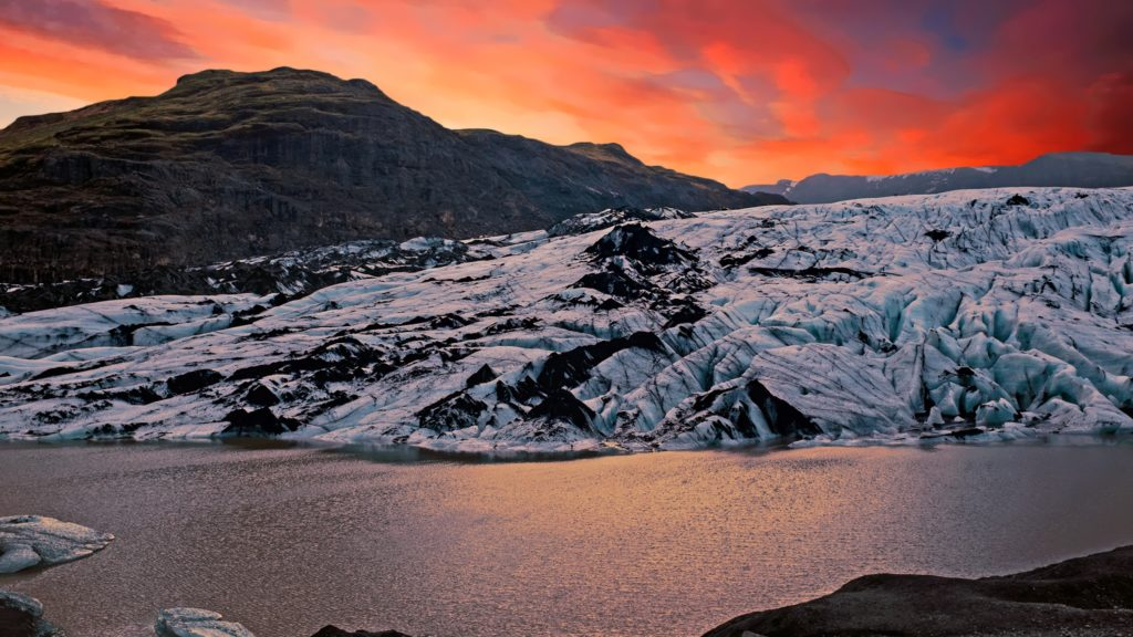 Sunset at Solheimajokull glacier