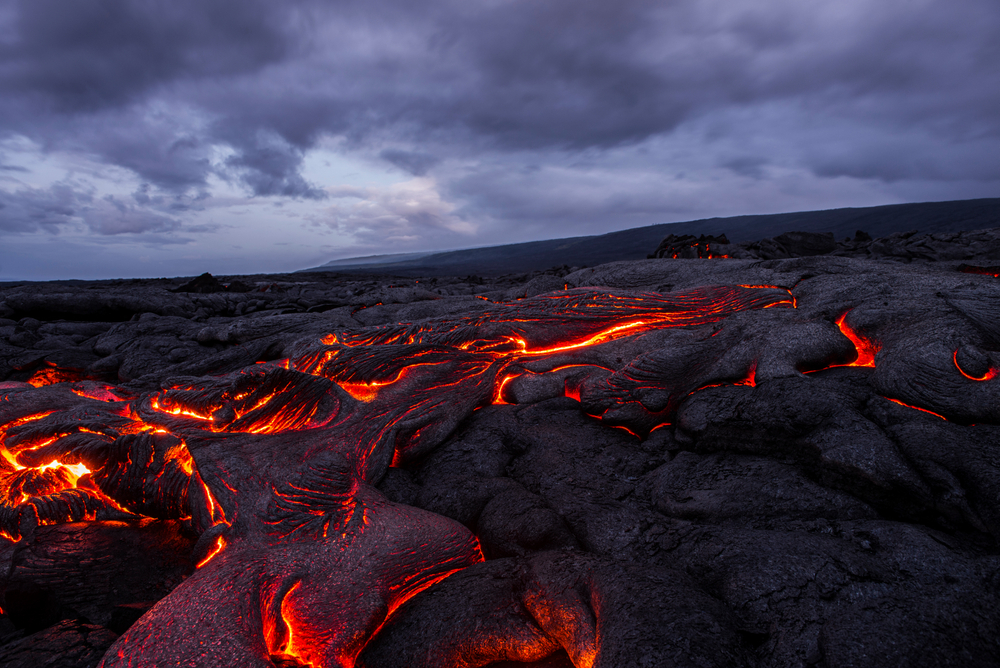 Flowing lava in Iceland