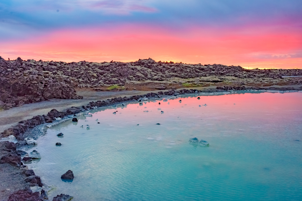 Sunset in Iceland by the Blue Lagoon