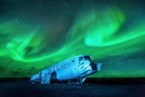 Northern Lights taken by the plane wreck in Iceland