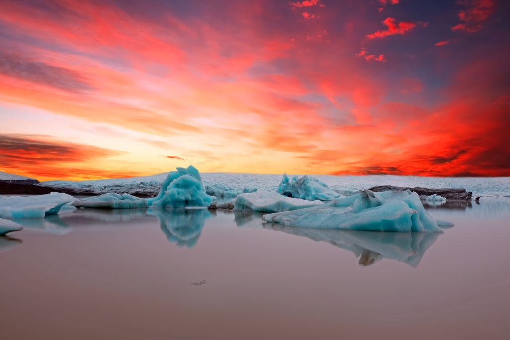 Solheimajokull Glacier Iceland - Sunset at Sólheimajökull Iceland