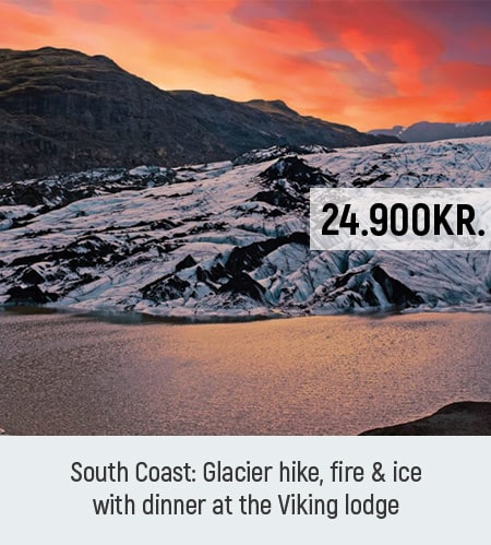 South Coast tour with glacier hike and Viking dinner